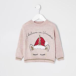 Pinkfarbener Strickpullover mit Weihnachts-Einhorn für kleine Mädchen