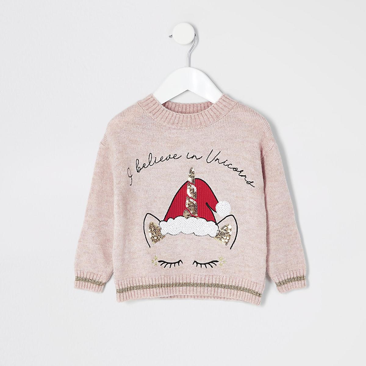 Mini girls pink Christmas unicorn knit jumper