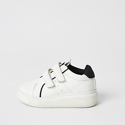 Mini boys white velcro wedge trainers