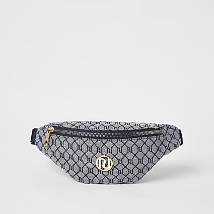 Girls navy RI jacquard bumbag