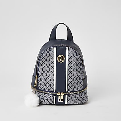 Girls navy RI monogram jacquard backpack
