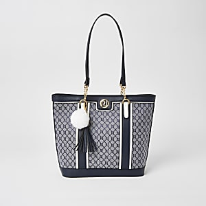 Navy RI jacquard shopper tote bag