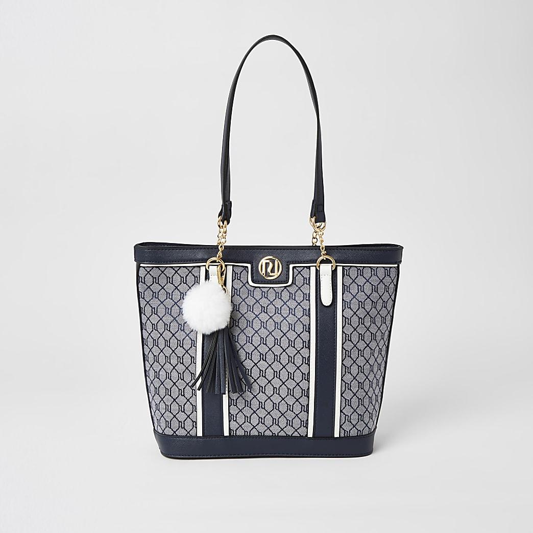 Girls navy RI jacquard shopper tote bag