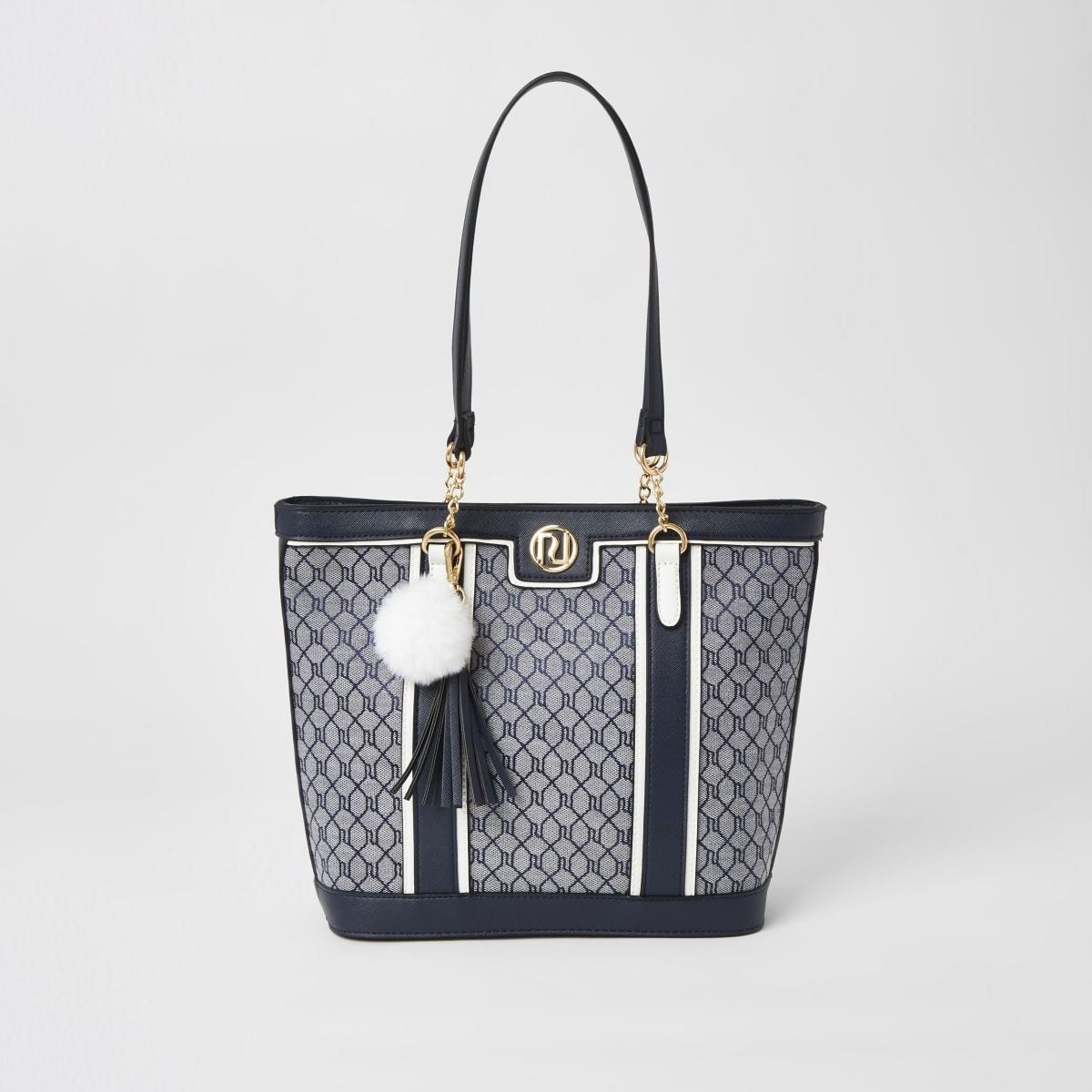 Girls navy RI jacquard shopper tote bag