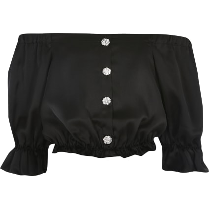 Girls black satin bardot top