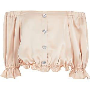 Oberteil aus Satin in hellem Pink mit Bardot-Ausschnitt für Mädchen