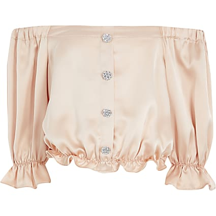 Girls light pink satin bardot top