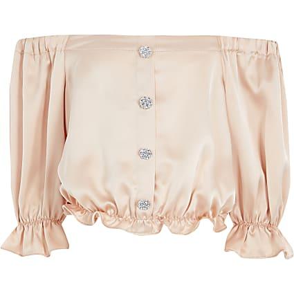 Girls light pink satin bardot top