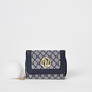 Marineblauwe uitvouwbare portemonnee met drie vakken en RI-monogram voor meisjes