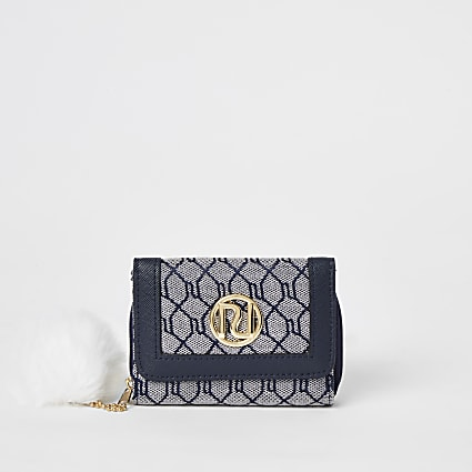 Girls navy RI monogram trifold purse