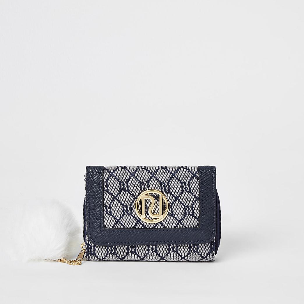 Girls navy RI monogram trifold purse