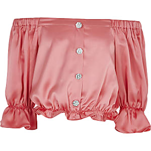 Top Bardot en satin corail pour fille