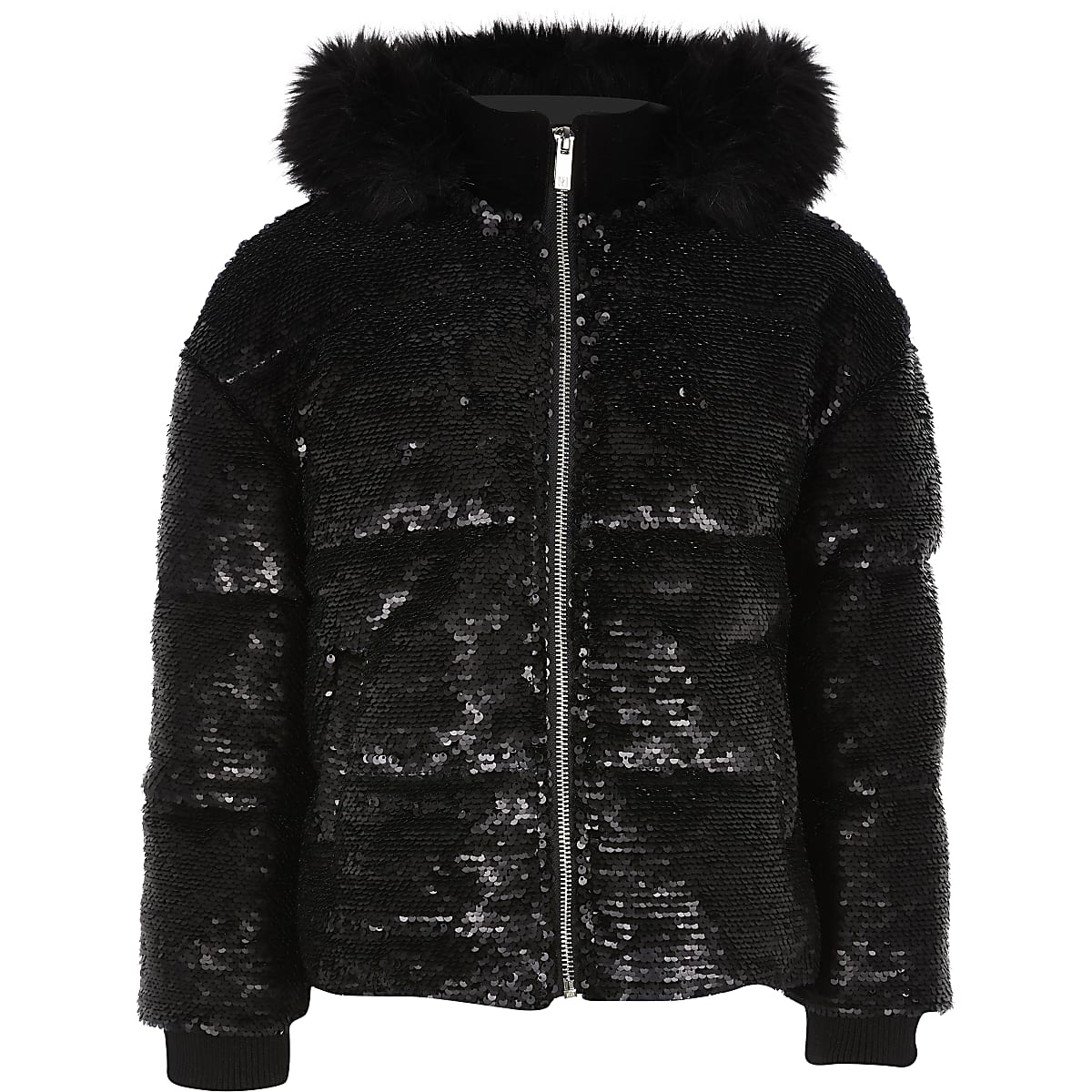 Girls black sequin embellished puffer jacket