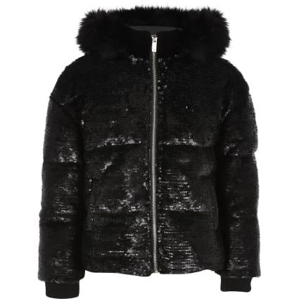 Girls black sequin embellished puffer jacket