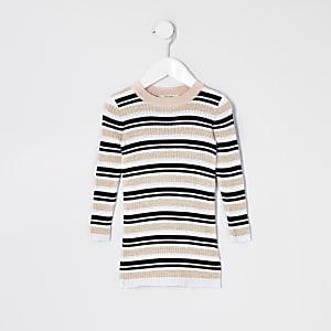 Mini – Gestreiftes Pulloverkleid aus Strick in Rosa für Mädchen
