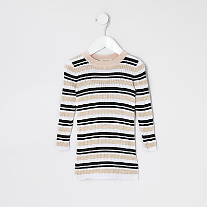 Mini girls pink stripe knitted jumper dress