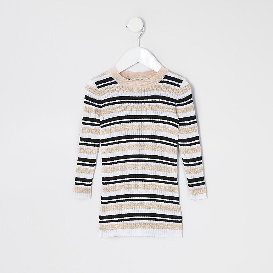 Mini girls pink stripe knitted jumper dress