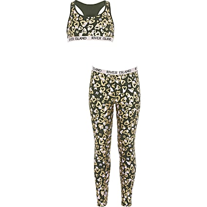 Girls khaki heart print RI crop top outfit