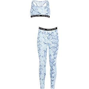 Girls blue snake printed loungewear set