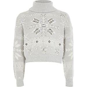 Grijze verfraaide gebreide cropped trui voor meisjes