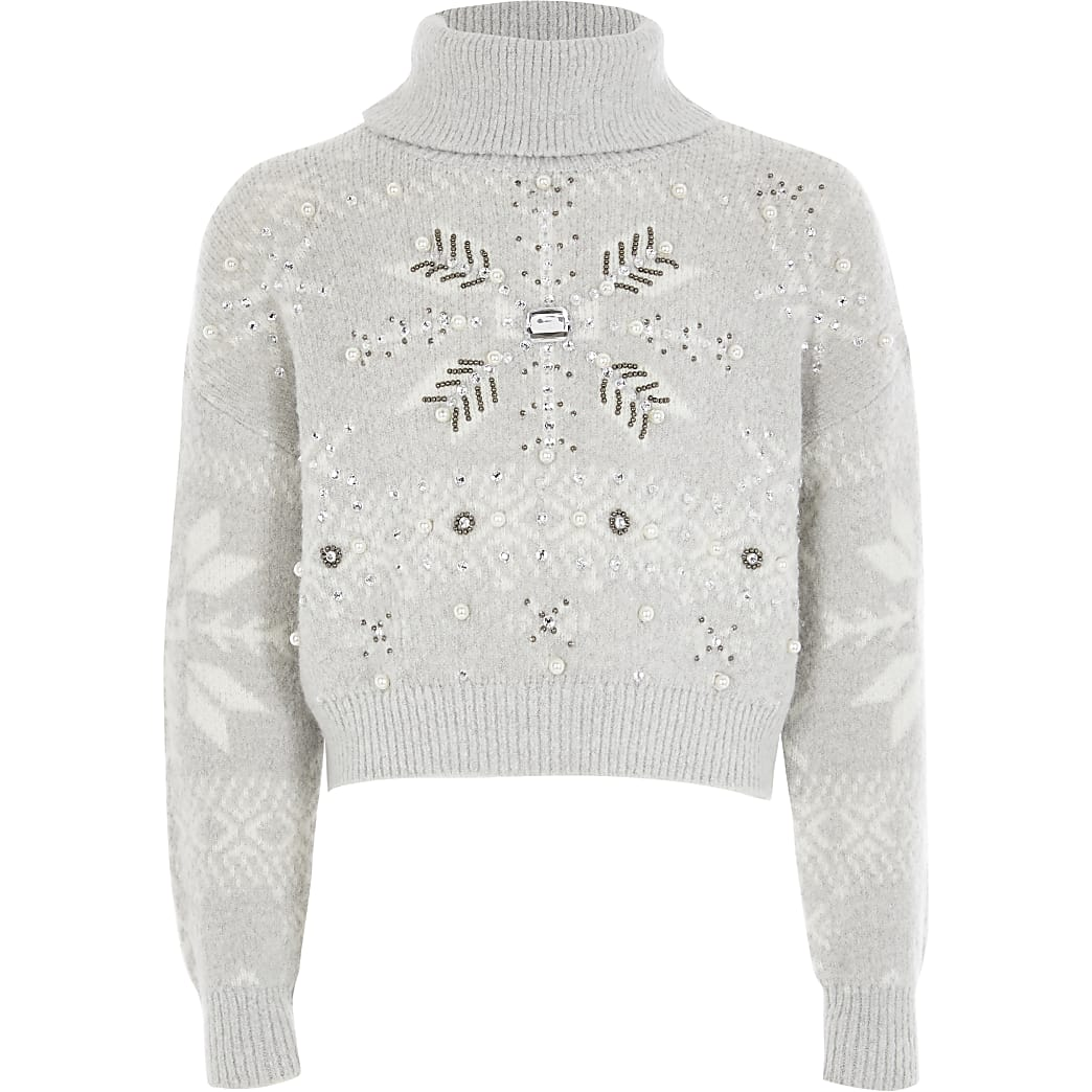 Girls grey embellished Christmas knit jumper