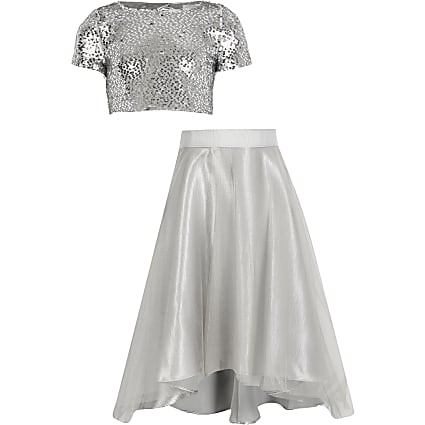 Girls silver sequin maxi skirt outfit