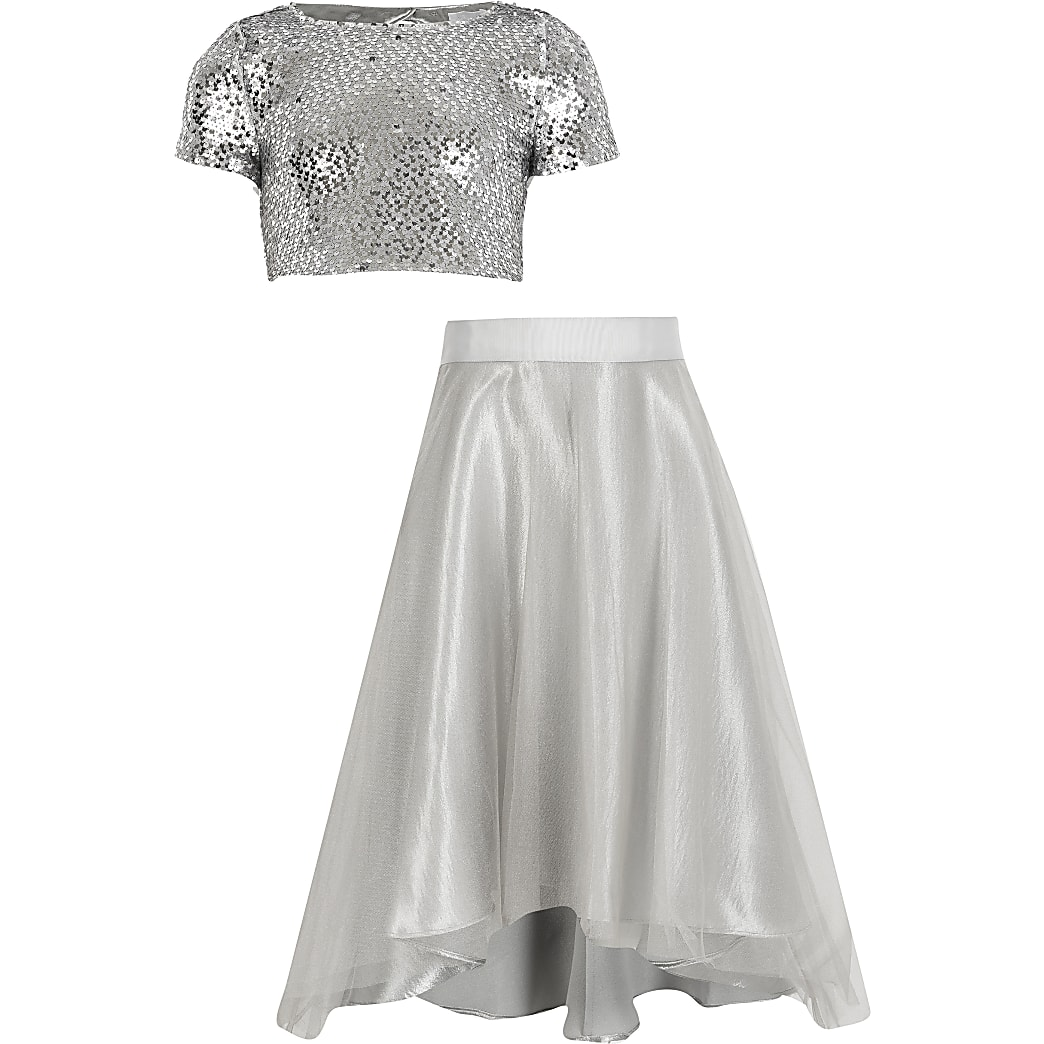 Girls silver sequin organza maxi skirt outfit