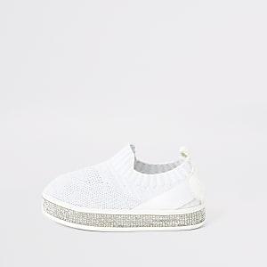 Mini - Witte gebreide sneakers met siersteentjes voor meisjes