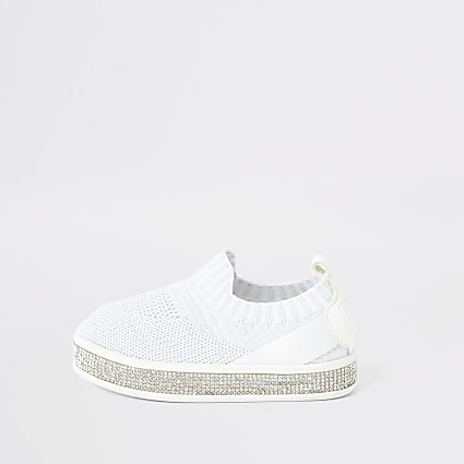 Mini girls white knitted diamante trainers