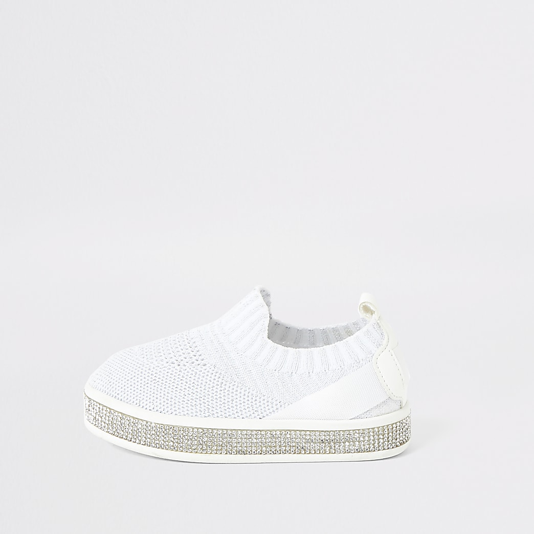Mini girls white knitted diamante trainers