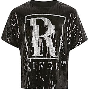 Zwart T-shirt verfraaid met lovertjes en RI-print voor meisjes
