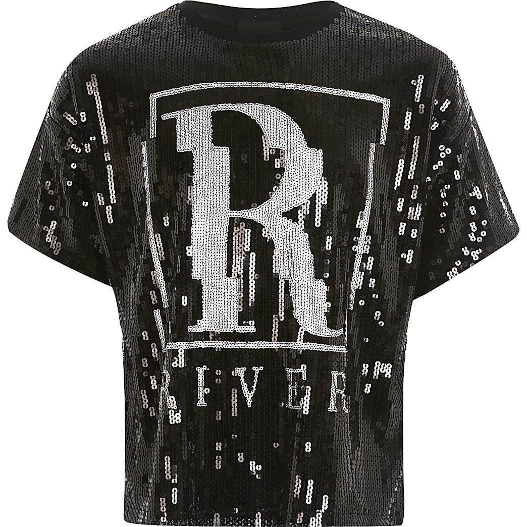 Girls black sequin embellished R T-shirt
