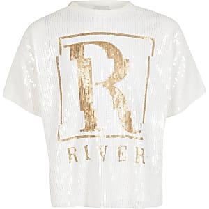 Crèmekleurig T-shirt verfraaid met lovertjes en RI-print voor meisjes