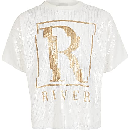Girls cream sequin embellished R T-shirt
