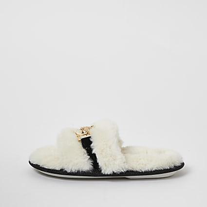 Girls cream faux fur brooch slider slippers
