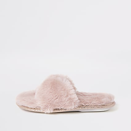 Girls pink faux fur diamante slippers