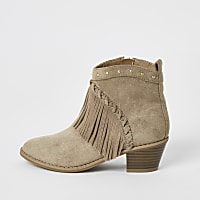 New Kids Childrens Girls Zip Up Faux Suede Western Fashion Ankle Boots Shoes UK