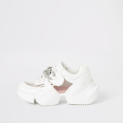 Girls white perspex diamante chunky trainers