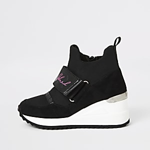 Schwarze, hohe RI-Sneaker mit Keilabsatz für Mädchen