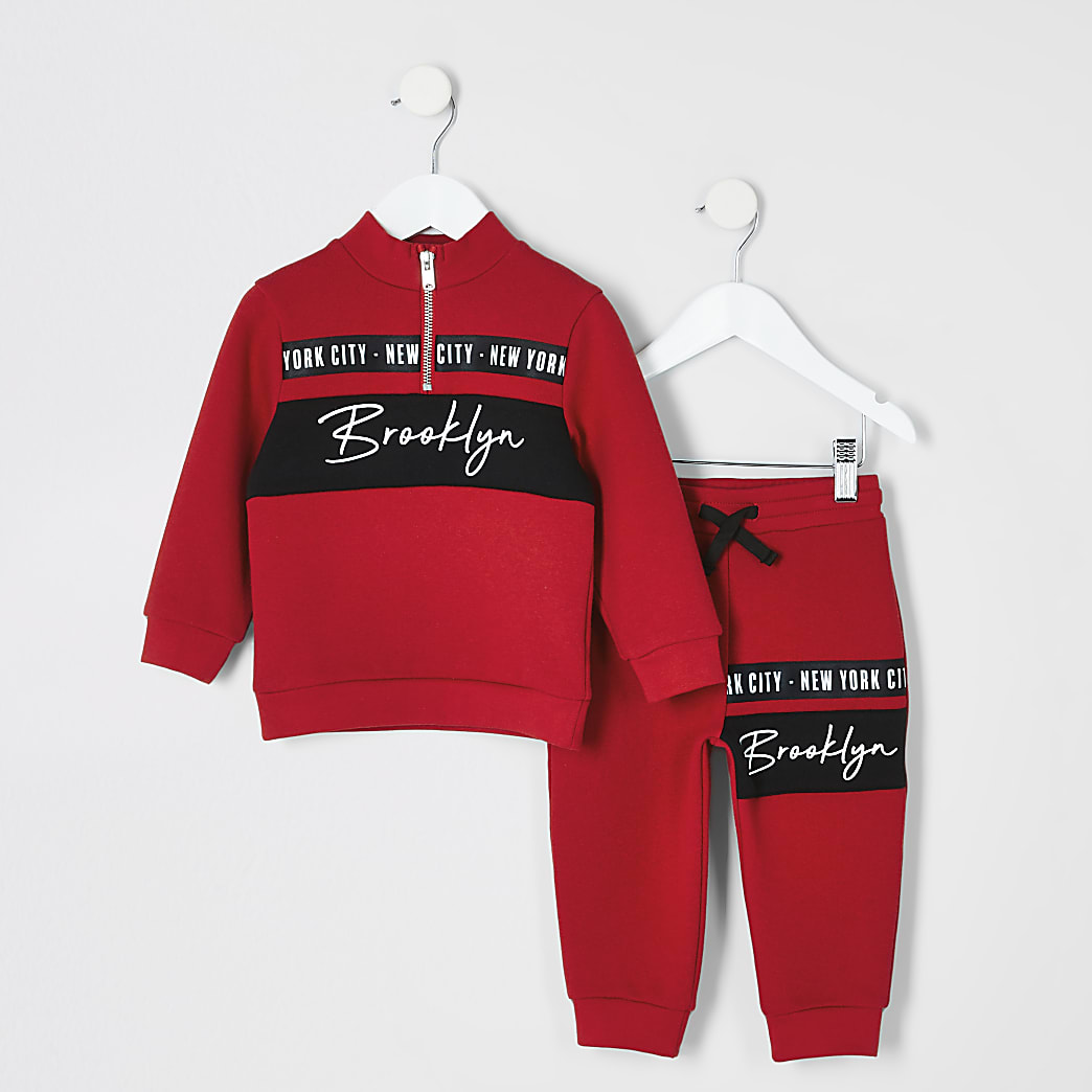 Mini boys red funnel neck sweatshirt outfit