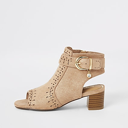 Girls brown embossed open toe heeled boot