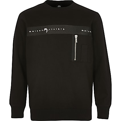 Boys black 'Maison riviera' tape sweatshirt