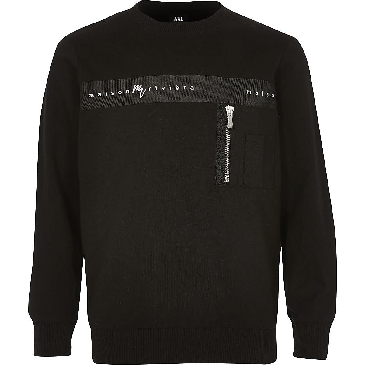 Boys black 'Maison riviera' tape sweatshirt