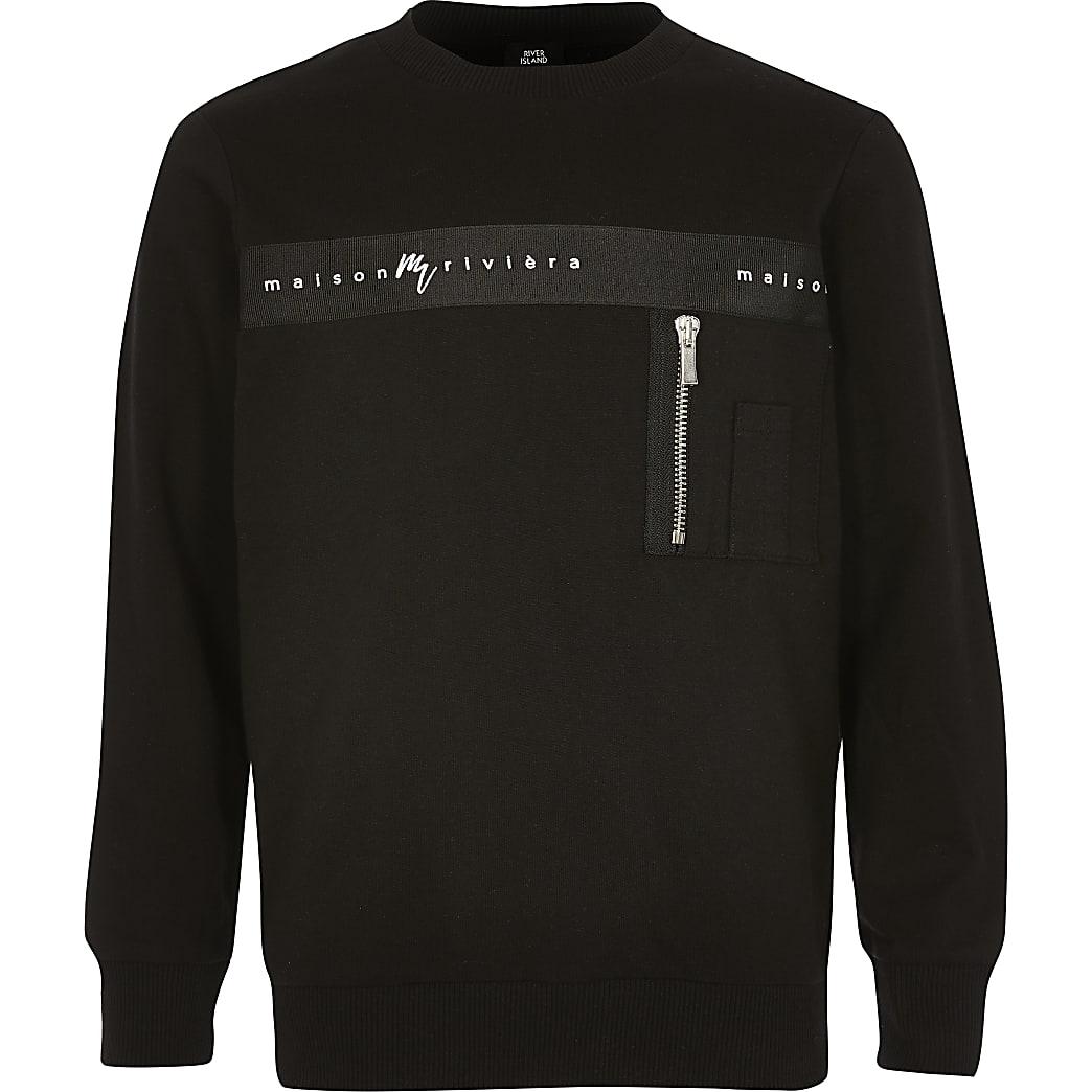 Schwarzes Sweatshirt mit Maison Riviera-Streifen für Jungen