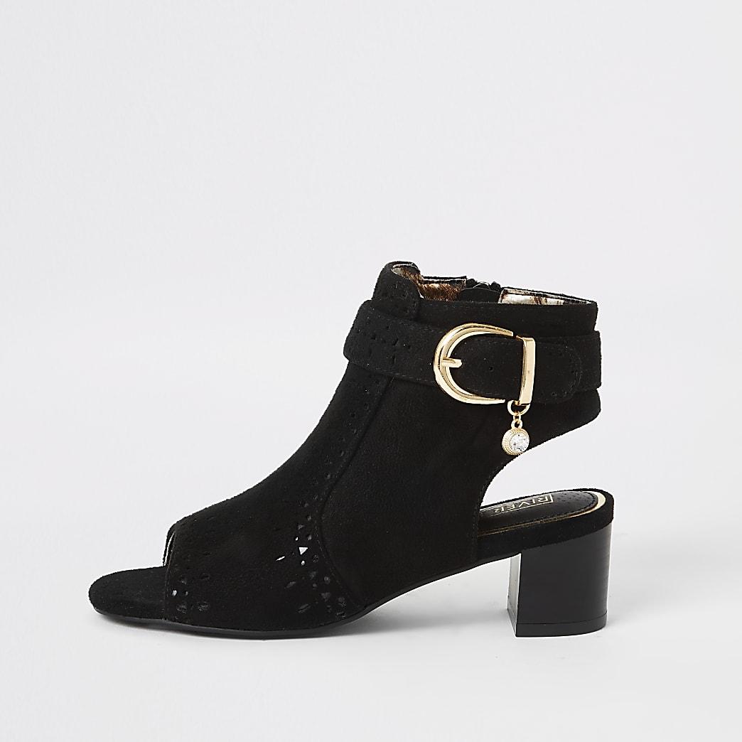 Girls black embossed open toe heeled boot