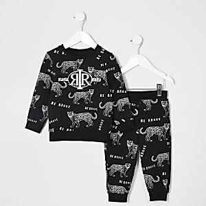 Mini garçon – Ensemble de jogging noir à imprimé tigre