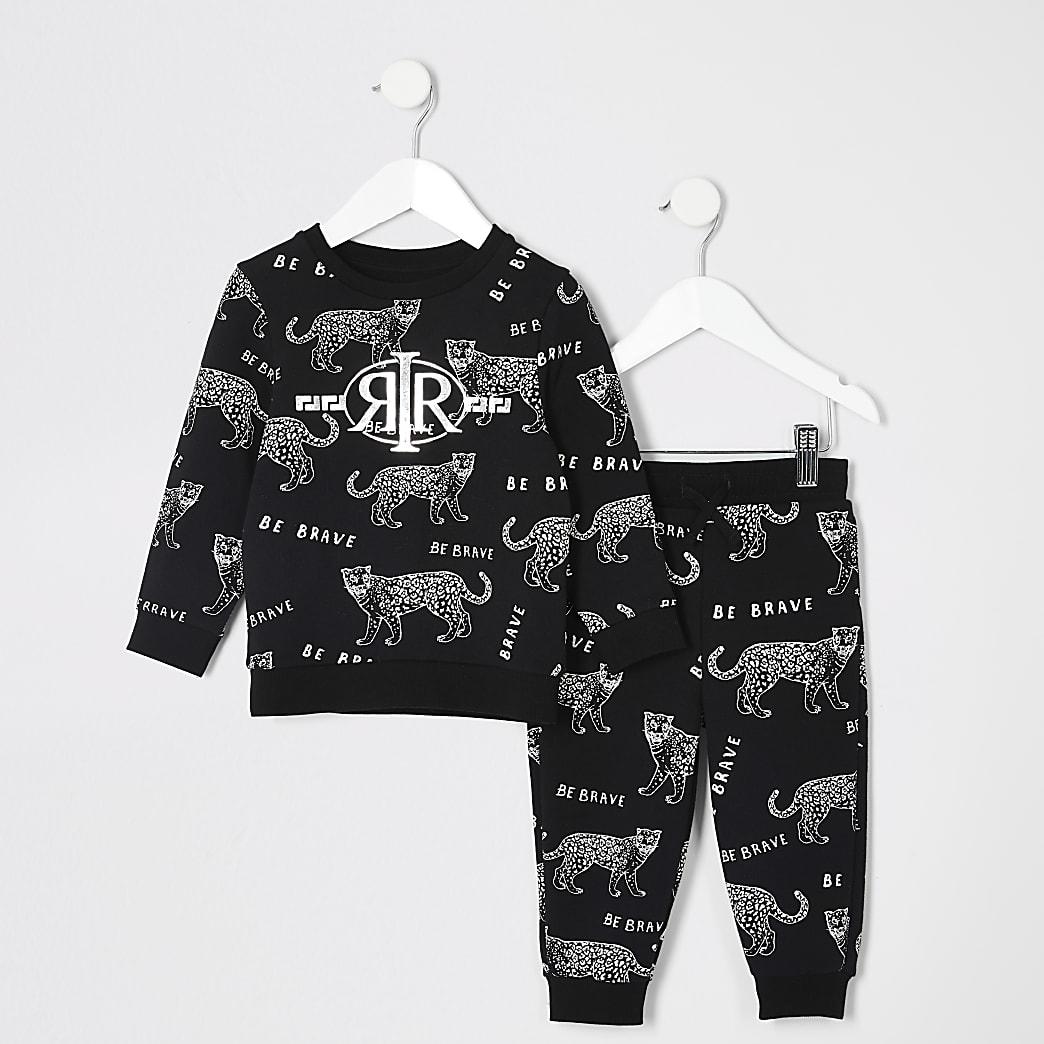 Mini boys black tiger printed jogger outfit