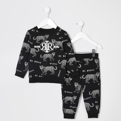 Mini boys black tiger printed jogger outfit