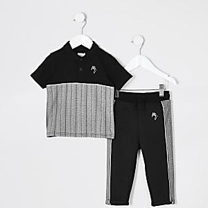 Mini – Schwarzes Poloshirt-Outfit für Jungen mit Fischgrätenmuster