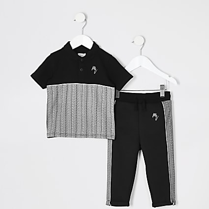 Mini boys black herringbone polo shirt outfit